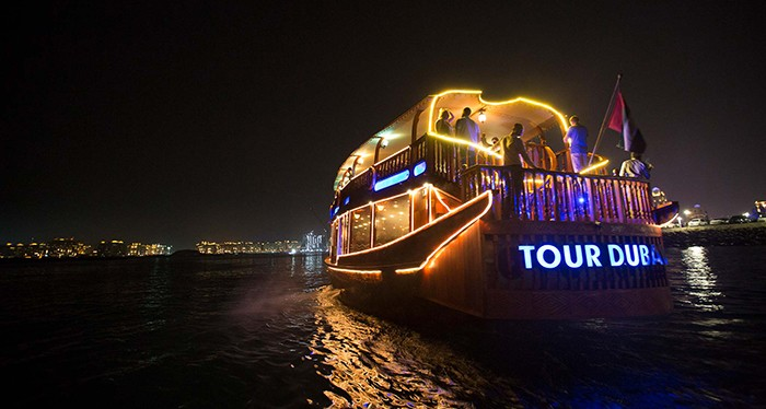 Gaze at the beautiful night sky with the Luxury Marina Dhow Dinner Cruise, Dubai Dinner Cruise