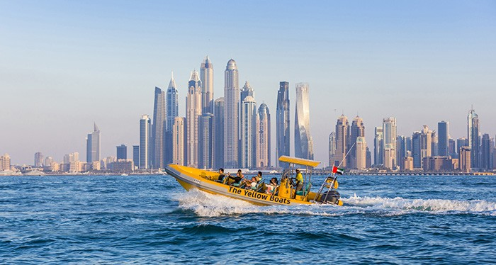 Zoom across the Arabian gulf with the yellow boat tour, Dubai Yacht Tour